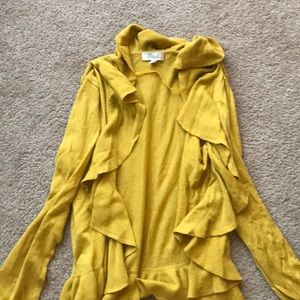 Mustard yellow fossil cardigan with ruffle accent